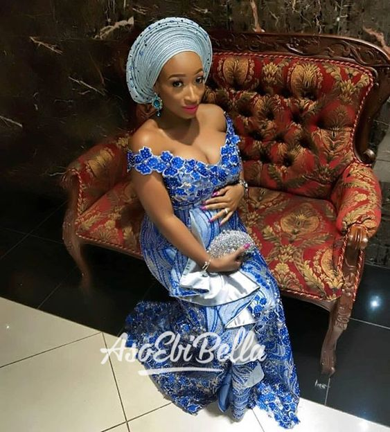 Latest Aso-Ebi Lace Styles For Pregnant Women's