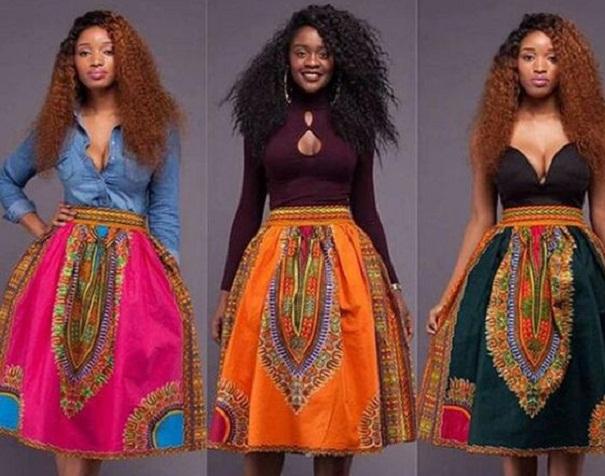 African Kente Dashiki Skirt